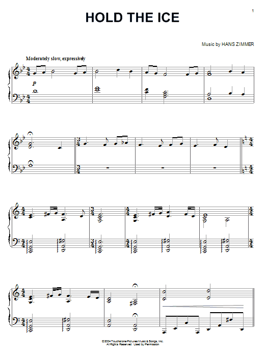 Hans Zimmer Hold The Ice (from King Arthur) sheet music notes and chords. Download Printable PDF.