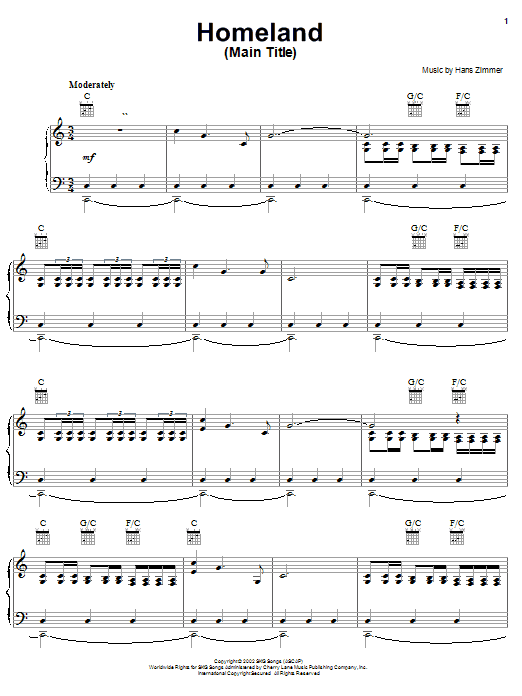 Hans Zimmer Homeland (Main Title from Spirit: Stallion Of The Cimarron) sheet music notes and chords
