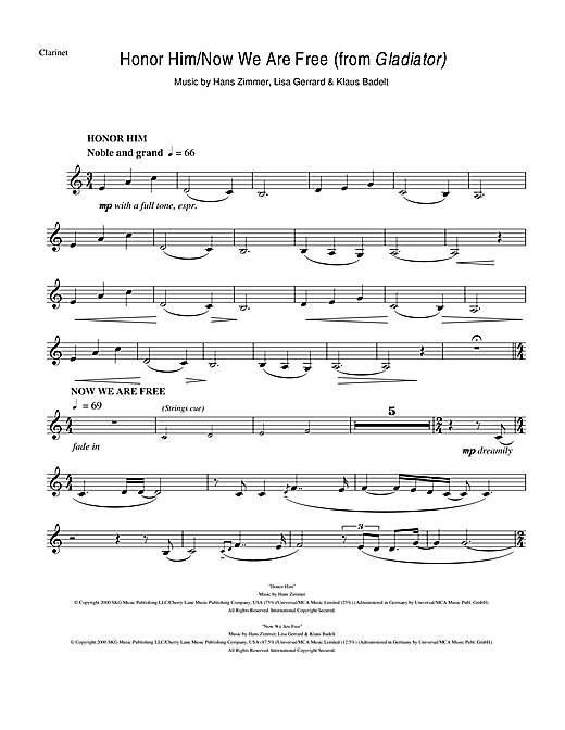 Hans Zimmer Honor Him/Now We Are Free (from Gladiator) sheet music notes and chords. Download Printable PDF.