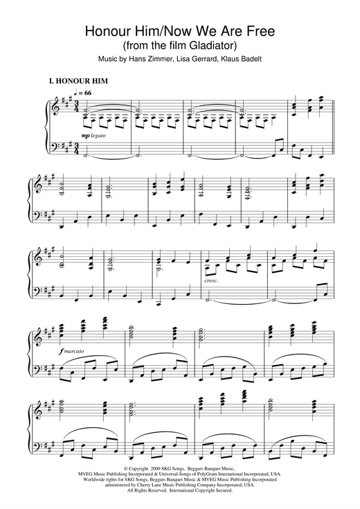 Hans Zimmer Honour Him/Now We Are Free (from Gladiator) sheet music notes and chords