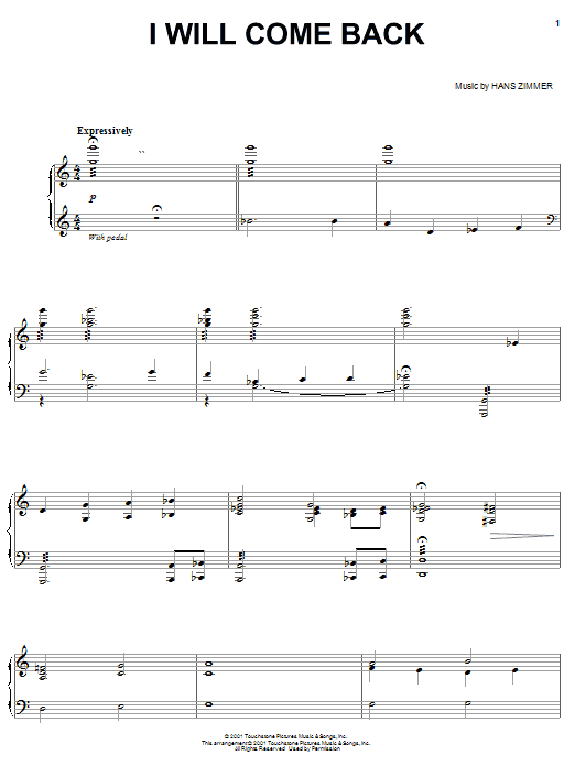 Hans Zimmer I Will Come Back (from Pearl Harbor) sheet music notes and chords. Download Printable PDF.