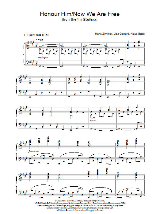 Hans Zimmer Now We Are Free (from Gladiator) sheet music notes and chords. Download Printable PDF.