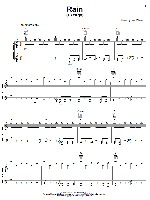Hans Zimmer Rain (from Spirit: Stallion Of The Cimarron) sheet music notes and chords. Download Printable PDF.