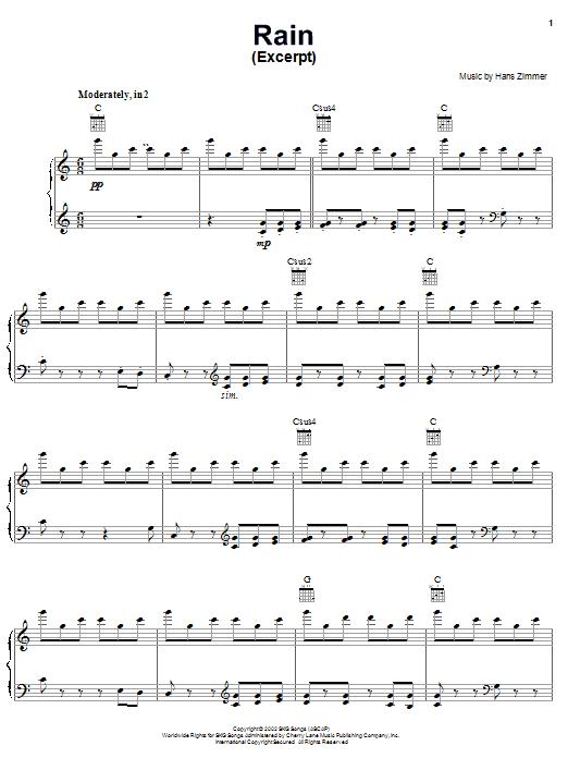 Hans Zimmer Rain (from Spirit: Stallion Of The Cimarron) sheet music notes and chords