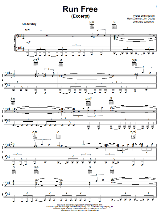 Hans Zimmer Run Free (from Spirit: Stallion Of The Cimarron) sheet music notes and chords