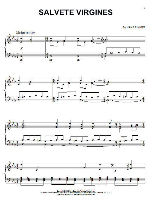 Hans Zimmer Salvete Virgines (from The Da Vinci Code) sheet music notes and chords. Download Printable PDF.