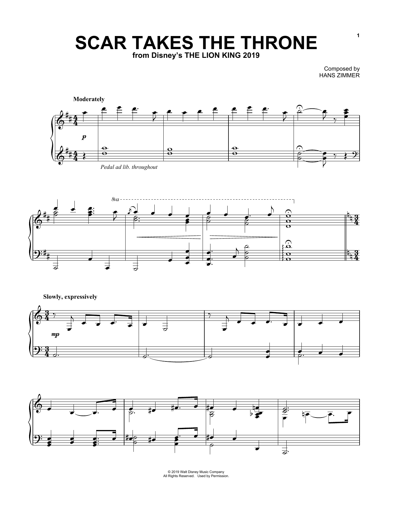Hans Zimmer Scar Takes The Throne (from The Lion King 2019) sheet music notes and chords. Download Printable PDF.