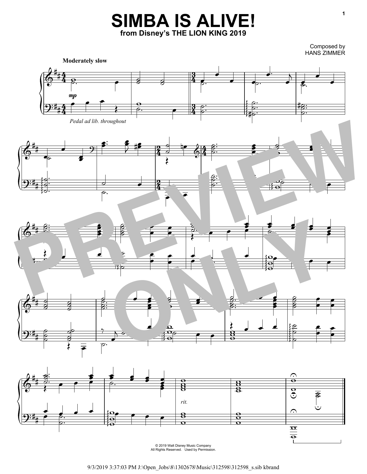 Hans Zimmer Simba Is Alive! (from The Lion King 2019) sheet music notes and chords. Download Printable PDF.