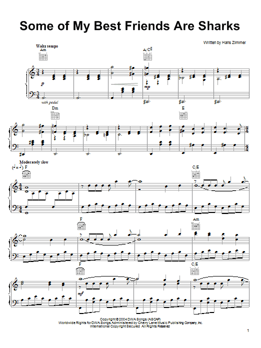 Hans Zimmer Some Of My Best Friends Are Sharks (from Shark Tale) sheet music notes and chords. Download Printable PDF.