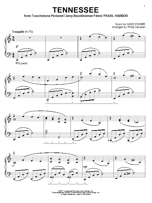 Hans Zimmer Tennessee (from Pearl Harbor) sheet music notes and chords. Download Printable PDF.