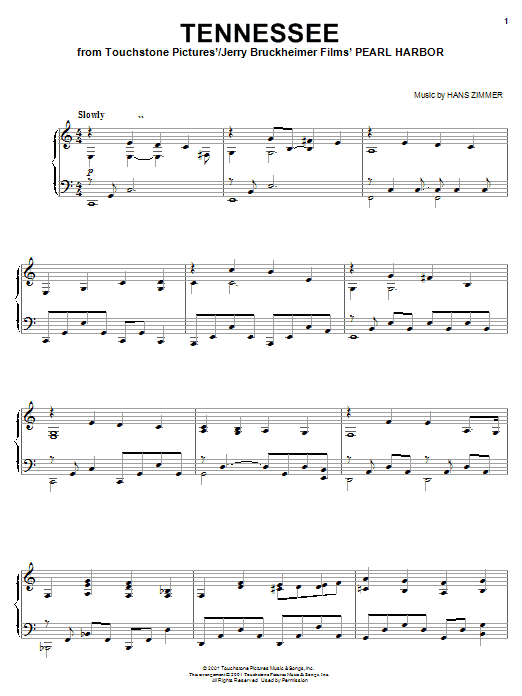 Hans Zimmer Tennessee (from Pearl Harbor) sheet music notes and chords