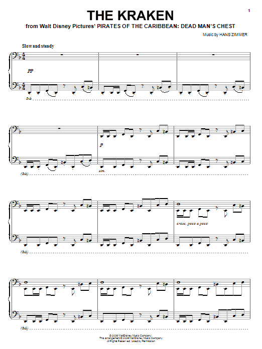 Hans Zimmer The Kraken sheet music notes and chords. Download Printable PDF.