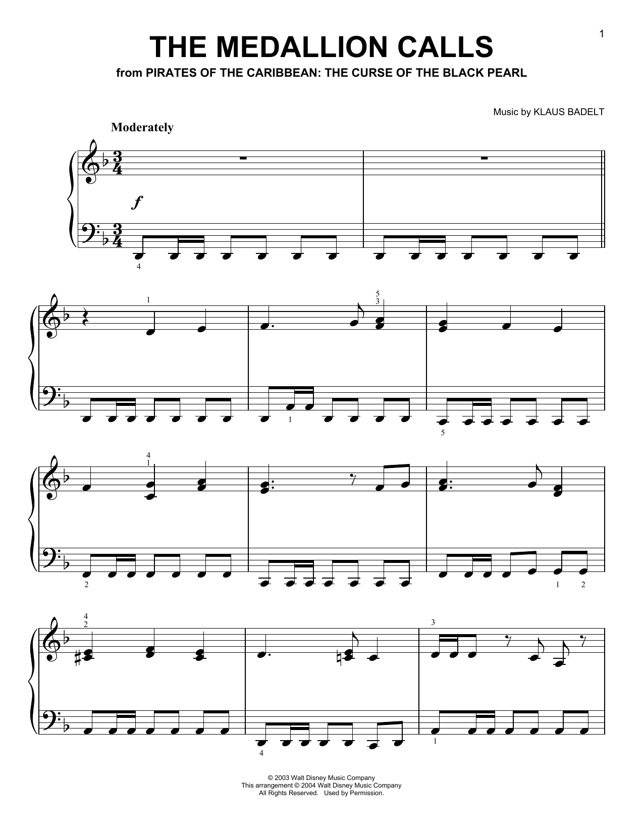 Hans Zimmer The Medallion Calls sheet music notes and chords. Download Printable PDF.