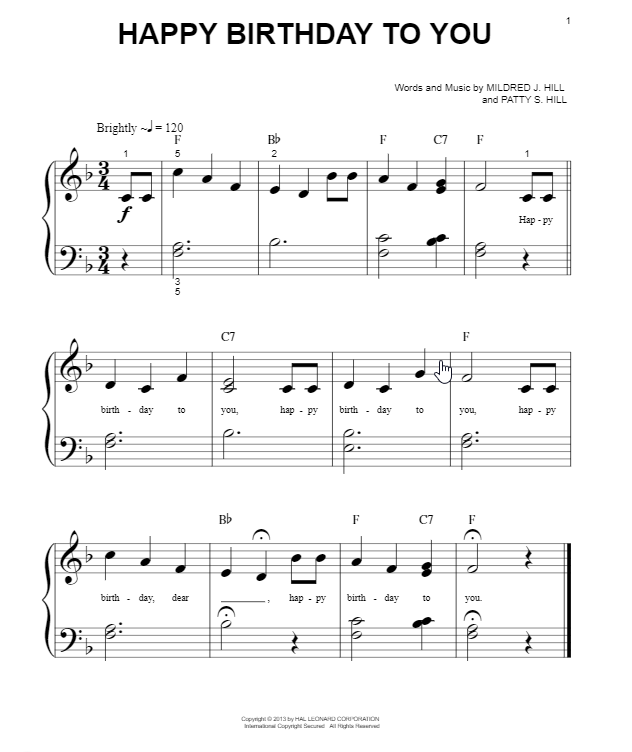 Mildred & Patty Hill Happy Birthday To You sheet music notes and chords. Download Printable PDF.