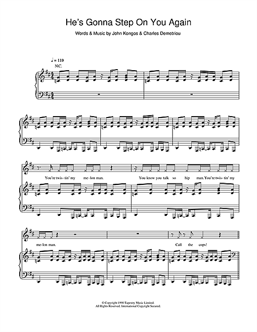 Happy Mondays He's Gonna Step On You Again sheet music notes and chords. Download Printable PDF.
