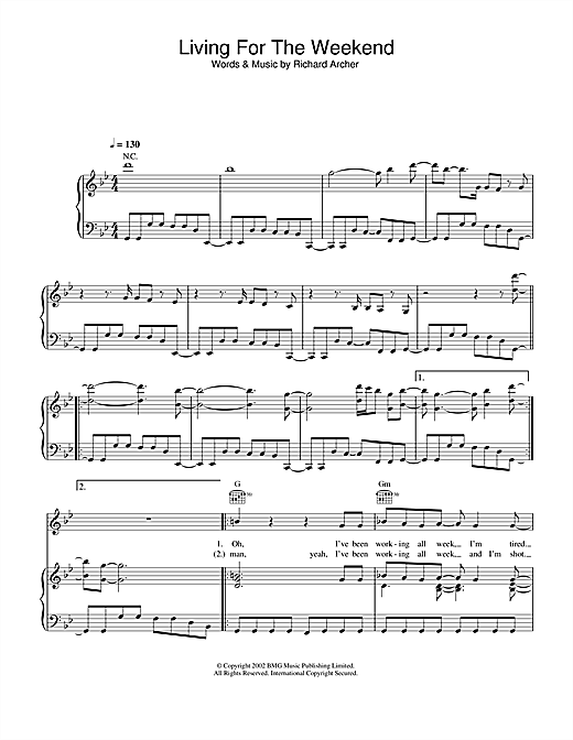 Hard-Fi Living For The Weekend sheet music notes and chords. Download Printable PDF.