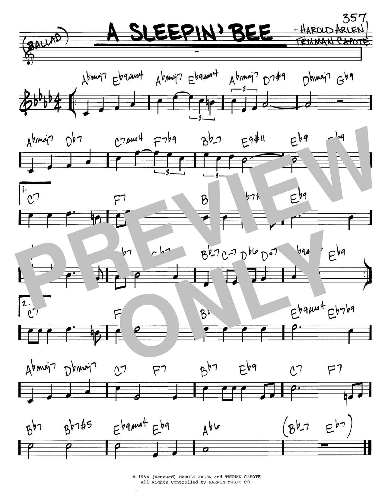 Harold Arlen A Sleepin' Bee sheet music notes and chords