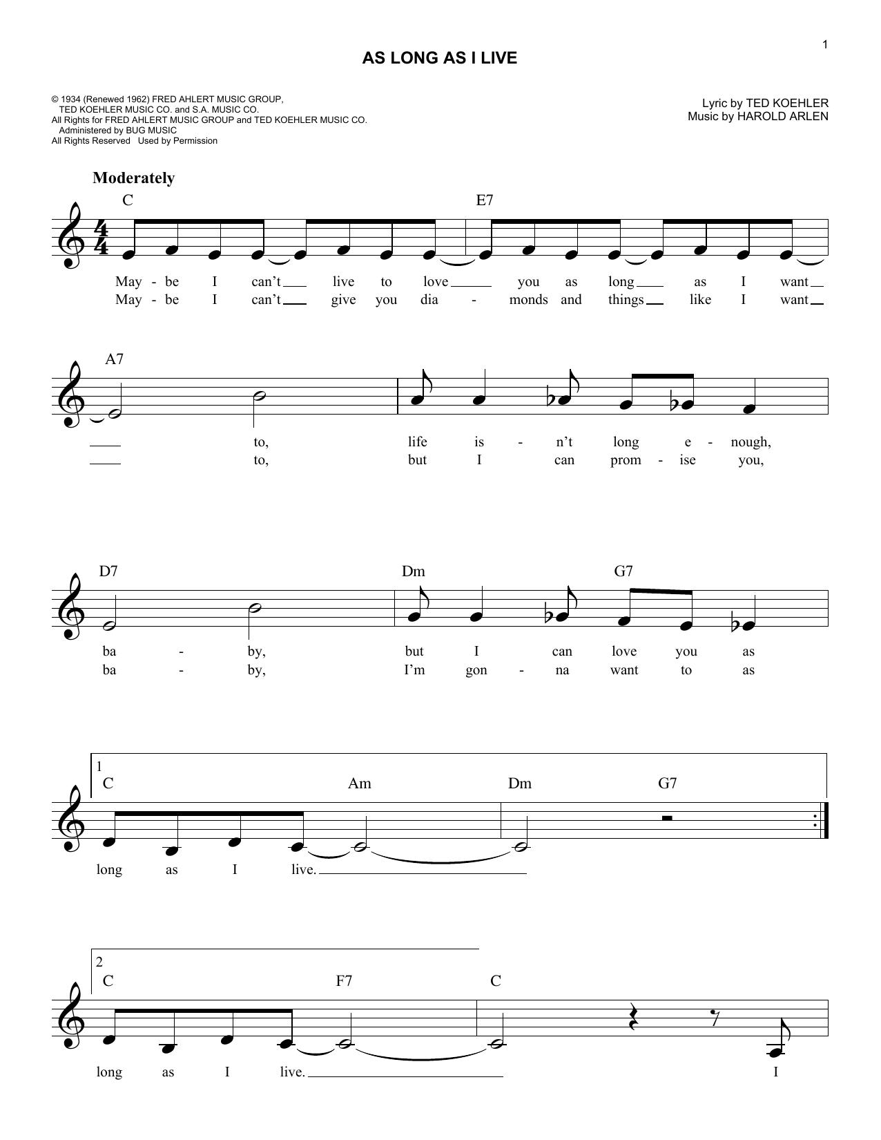 Harold Arlen As Long As I Live sheet music notes and chords. Download Printable PDF.