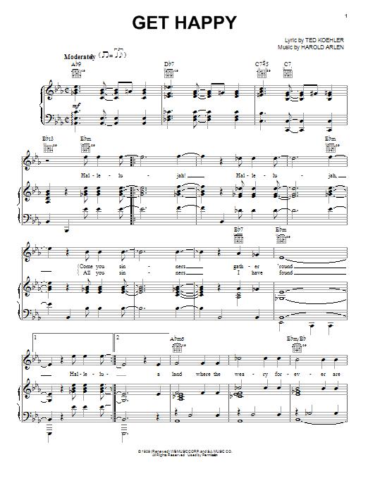 Harold Arlen Get Happy sheet music notes and chords. Download Printable PDF.