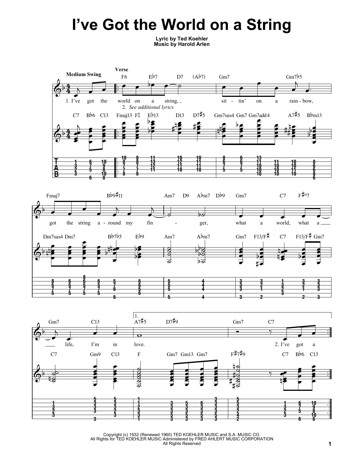 Harold Arlen I've Got The World On A String sheet music notes and chords. Download Printable PDF.