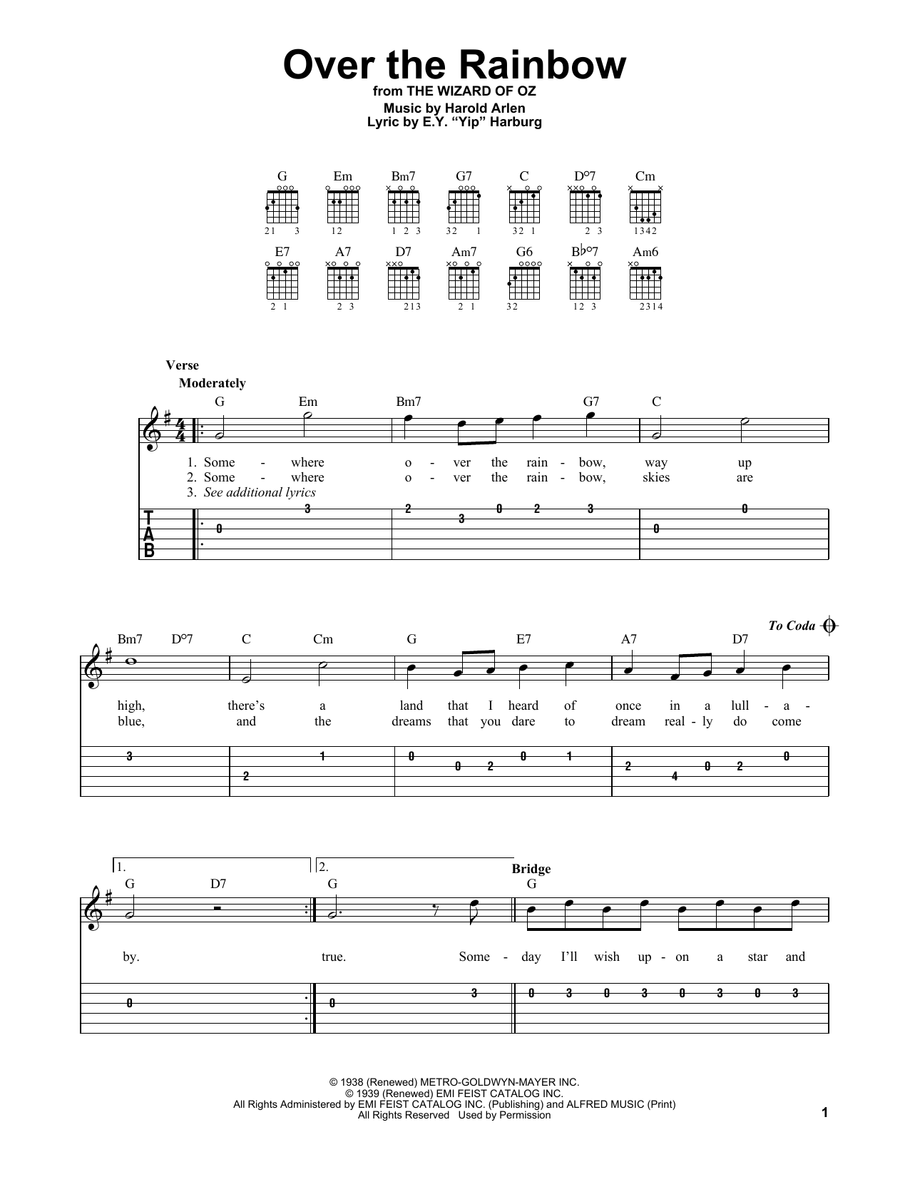 Harold Arlen Over The Rainbow (from The Wizard Of Oz) sheet music notes and chords. Download Printable PDF.