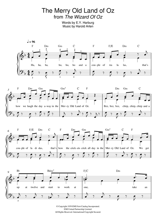 Harold Arlen The Merry Old Land Of Oz (from 'The Wizard Of Oz') sheet music notes and chords