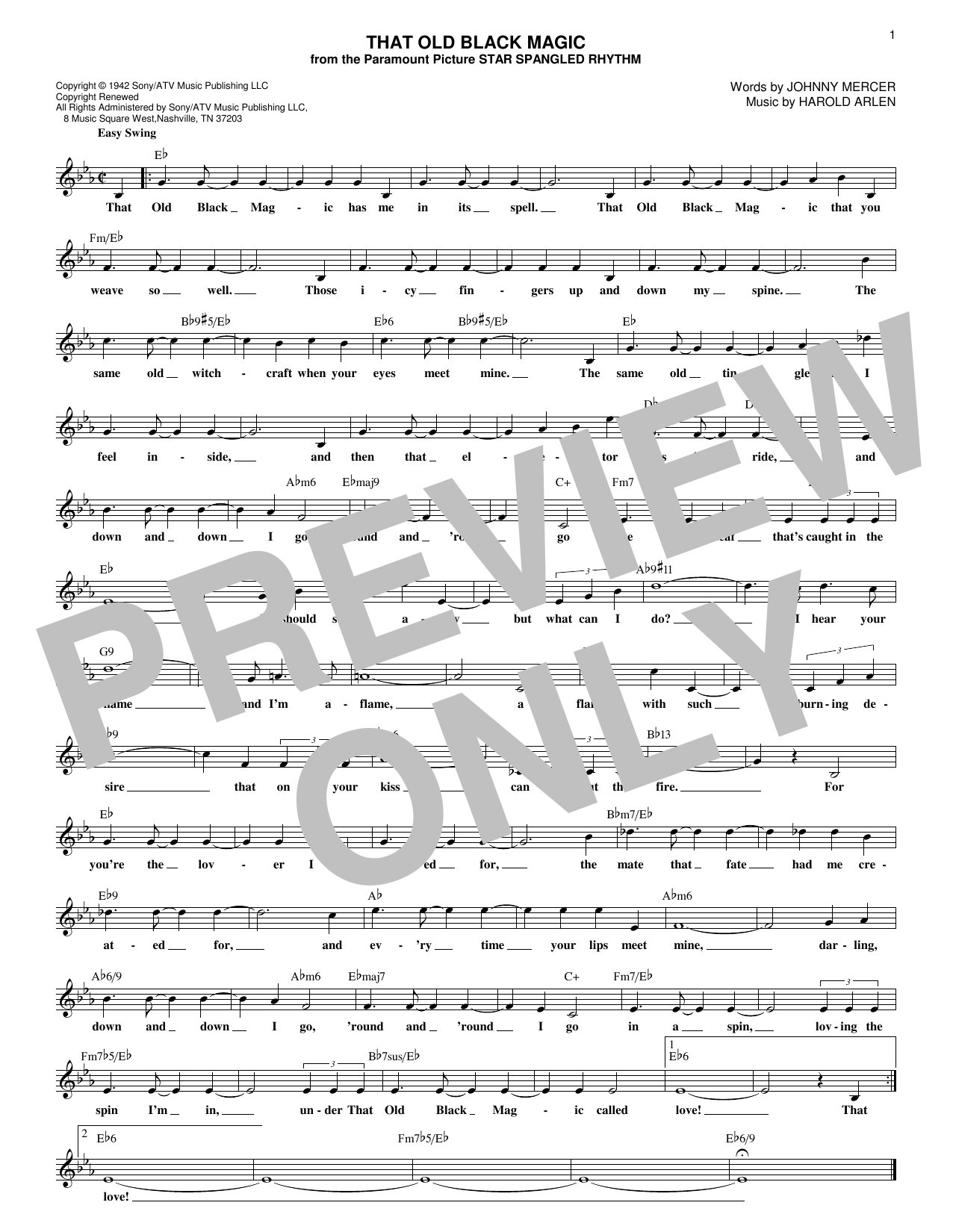 Harold Arlen and Johnny Mercer That Old Black Magic sheet music notes and chords. Download Printable PDF.