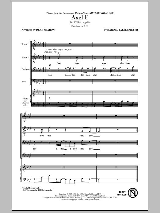 Deke Sharon Axel F sheet music notes and chords. Download Printable PDF.