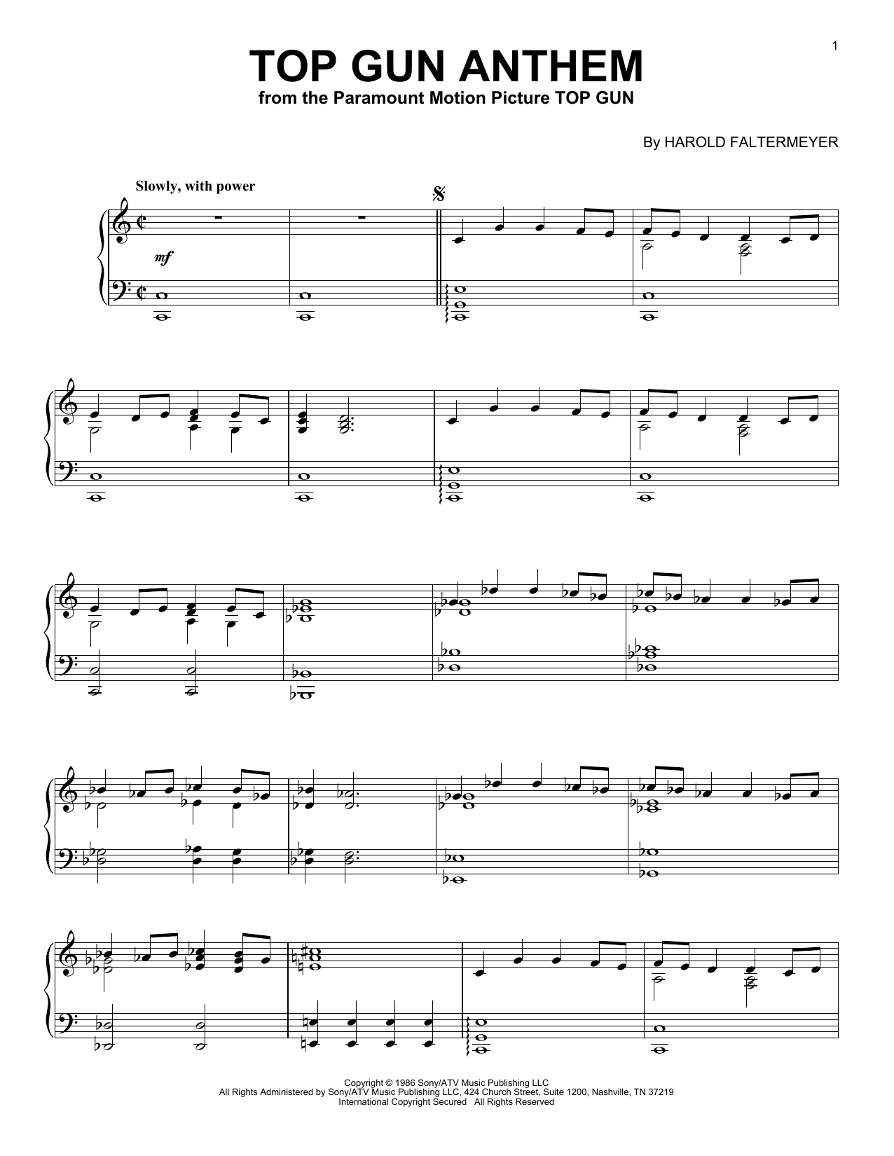 Harold Faltermeyer Top Gun Anthem Sheet Music Pdf Notes Chords