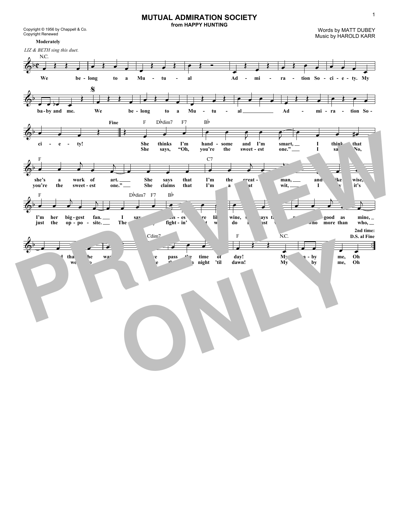 Harold Karr Mutual Admiration Society (from Happy Hunting) sheet music notes and chords