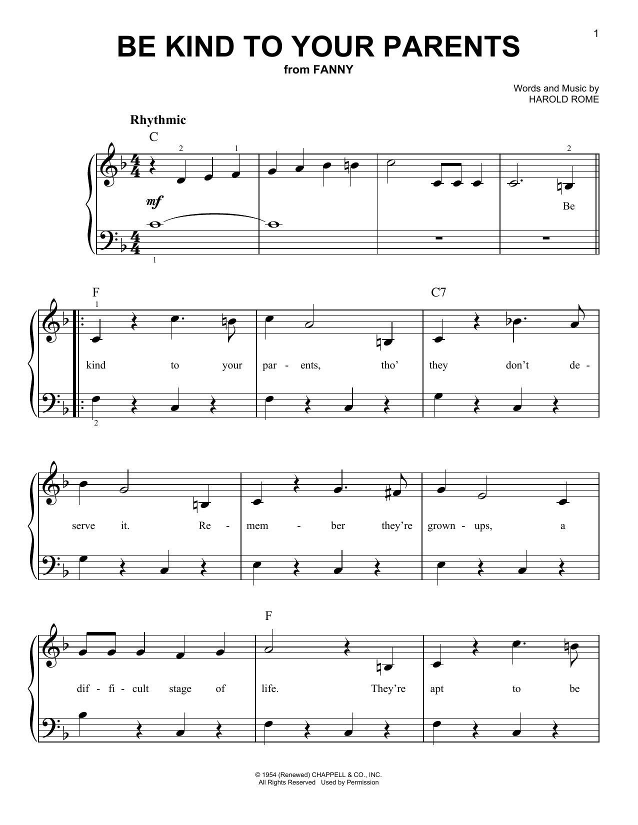 Harold Rome Be Kind To Your Parents sheet music notes and chords. Download Printable PDF.