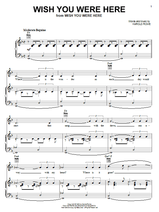 Harold Rome Wish You Were Here sheet music notes and chords. Download Printable PDF.