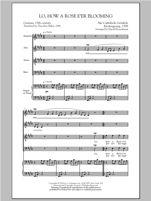 Harold Rosenbaum Lo, How A Rose E'er Blooming sheet music notes and chords. Download Printable PDF.
