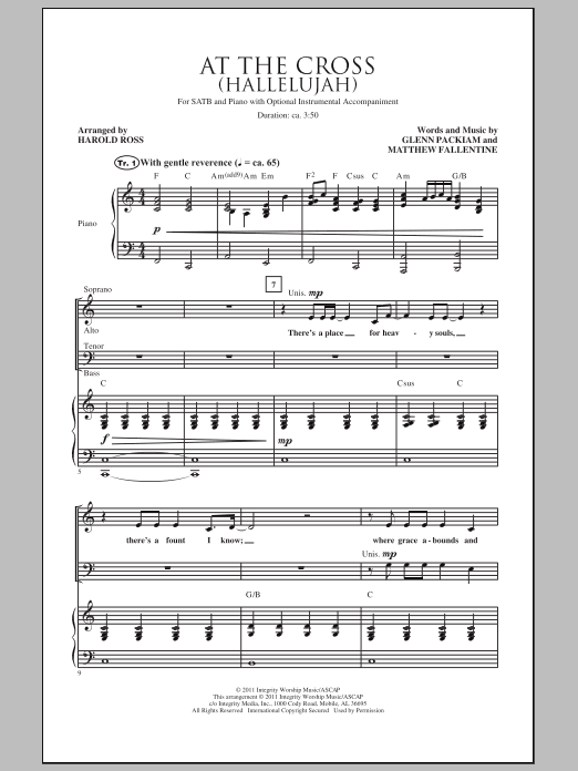 Harold Ross At The Cross (Hallelujah) sheet music notes and chords