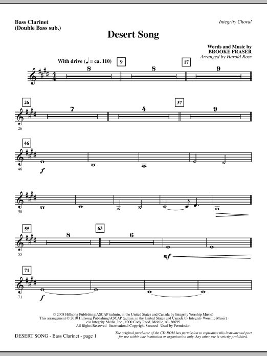 Harold Ross Desert Song - Bass Clar. (Double Bass sub.) sheet music notes and chords. Download Printable PDF.