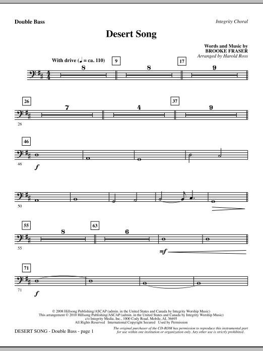 Harold Ross Desert Song - Double Bass sheet music notes and chords. Download Printable PDF.