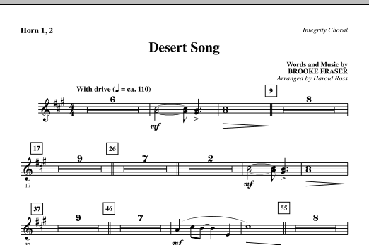 Harold Ross Desert Song - F Horn 1,2 sheet music notes and chords. Download Printable PDF.