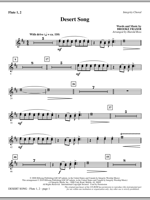 Harold Ross Desert Song - Flute 1 & 2 sheet music notes and chords. Download Printable PDF.