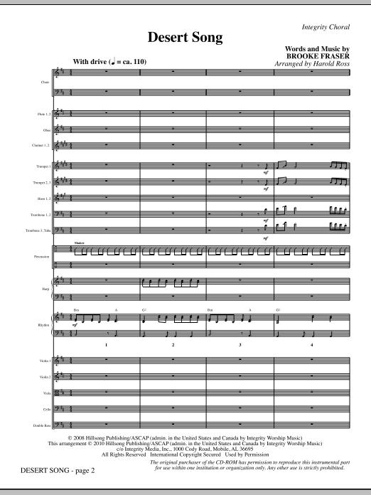 Harold Ross Desert Song - Full Score sheet music notes and chords. Download Printable PDF.