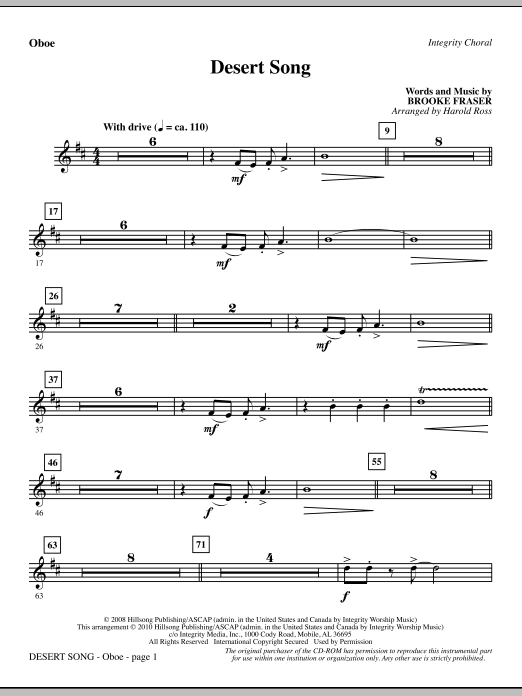 Harold Ross Desert Song - Oboe sheet music notes and chords. Download Printable PDF.