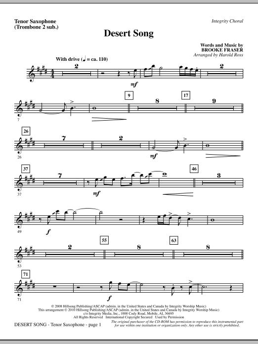 Harold Ross Desert Song - Tenor Sax (Trombone 2 sub.) sheet music notes and chords. Download Printable PDF.