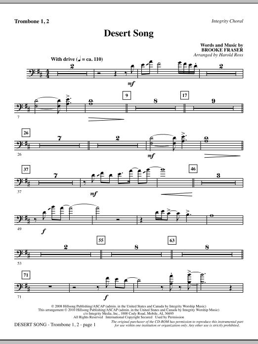 Harold Ross Desert Song - Trombone 1 & 2 sheet music notes and chords. Download Printable PDF.