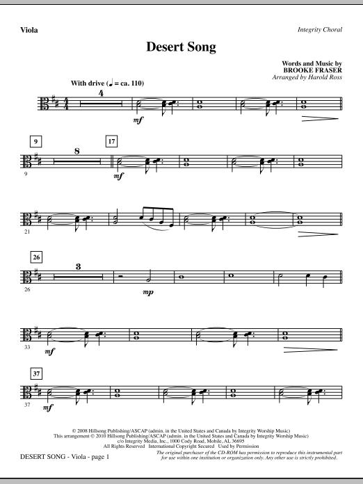 Harold Ross Desert Song - Viola sheet music notes and chords. Download Printable PDF.