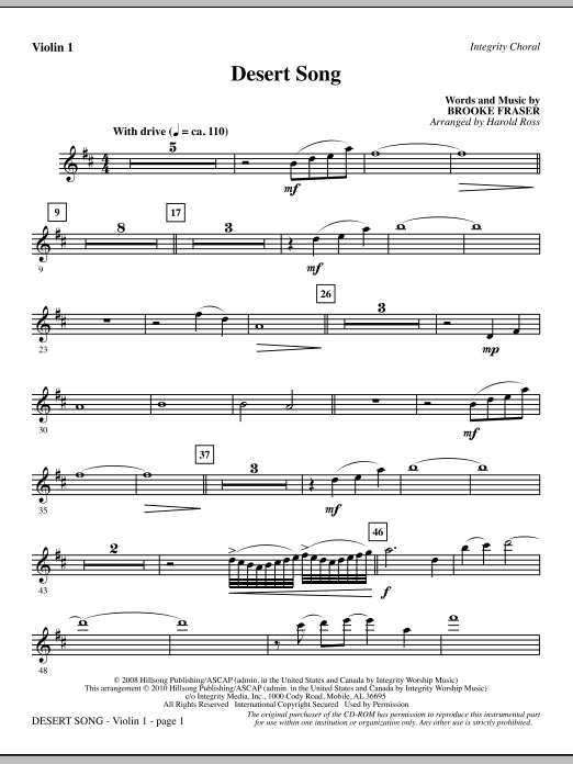 Harold Ross Desert Song - Violin 1 sheet music notes and chords. Download Printable PDF.
