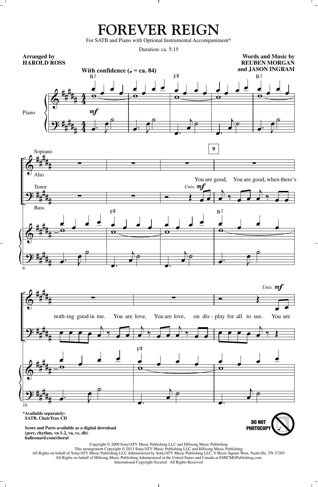 Harold Ross Forever Reign Sheet Music Notes, Chords   Download Printable  SATB Choir PDF Score   SKU 15