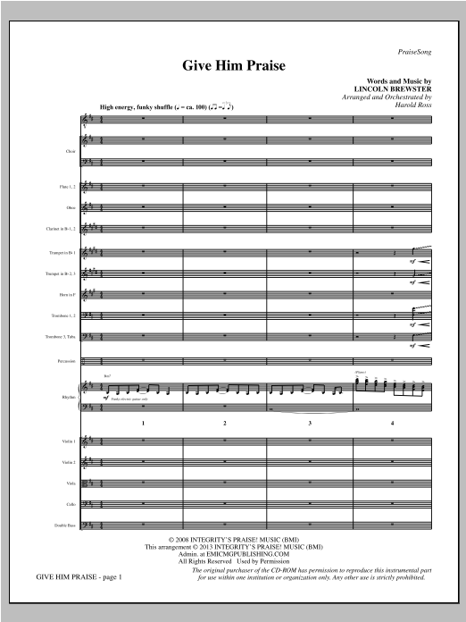 Harold Ross Give Him Praise - Full Score sheet music notes and chords. Download Printable PDF.