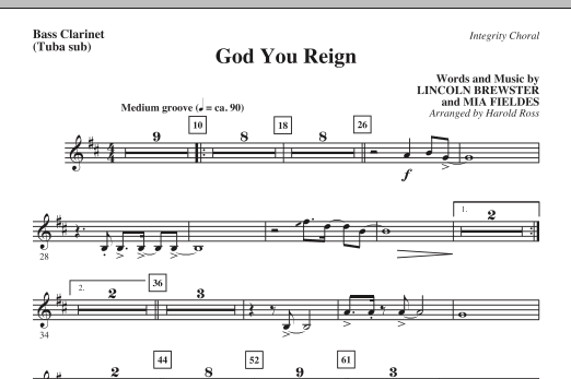 Harold Ross God You Reign - Bass Clarinet (Tuba sub.) sheet music notes and chords. Download Printable PDF.