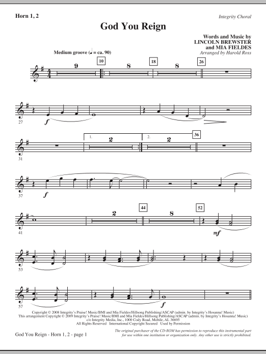 Harold Ross God You Reign - F Horn sheet music notes and chords. Download Printable PDF.