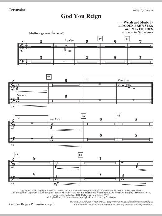 Harold Ross God You Reign - Percussion sheet music notes and chords. Download Printable PDF.