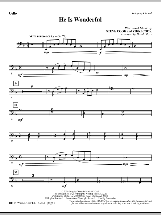 Harold Ross He Is Wonderful - Cello sheet music notes and chords. Download Printable PDF.
